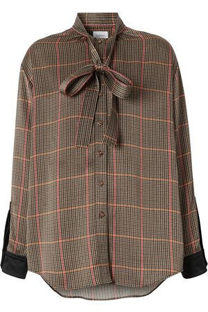 Burberry Houndstooth pussy-bow blouse