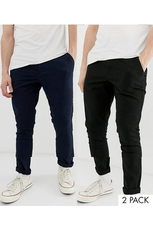 ASOS Muži Chino - 2 pack super skinny chinos in black & navy save-Multi