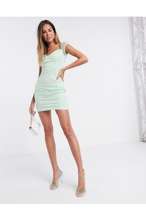Femme Luxe Ženy Na párty - Organza ruched mini dress in mint-Green