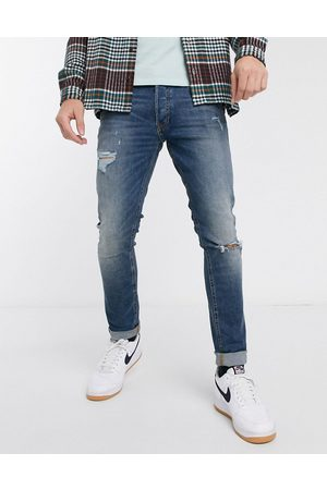 Jack & Jones Intelligence Glenn slim fit jeans with rips in super stretch in mid blue
