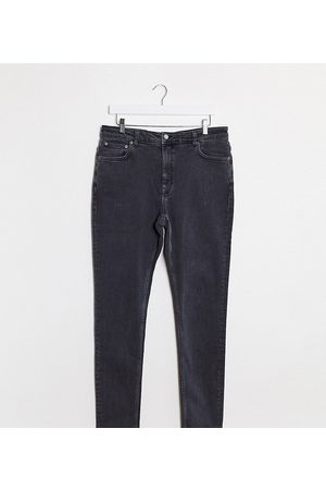 Weekday Thursday organic cotton extended sized high waist skinny jeans in night black