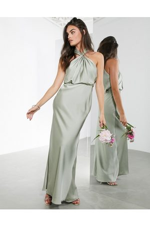 ASOS Ženy Ke krku - Satin ruched halter neck maxi dress in sage green