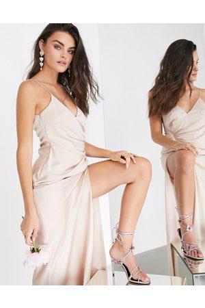 ASOS Satin cami maxi dress with drape detail in pink