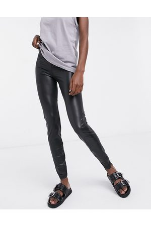 Noisy May Leather look legging in black