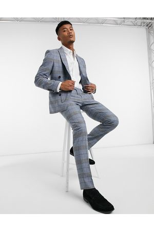 Twisted Tailor Muži Úzké nohavice - Skinny suit trousers in blue check