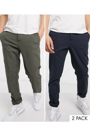 ASOS 2 pack slim chinos in khaki & navy save-Multi