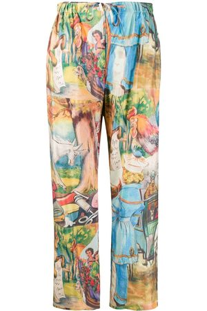 Soulland Illustration print straight-leg trousers