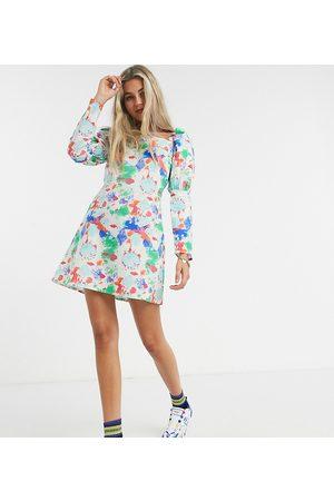ASOS KENYA linen dress in splodge print-White