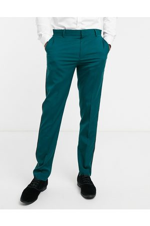 ASOS Muži Úzké nohavice - Skinny tuxedo suit trouser in forest green