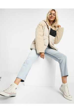 ASOS Fleece patched puffer jacket in cream