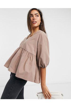 ASOS Long sleeve cotton smock top with pep hem in chocolate-Brown