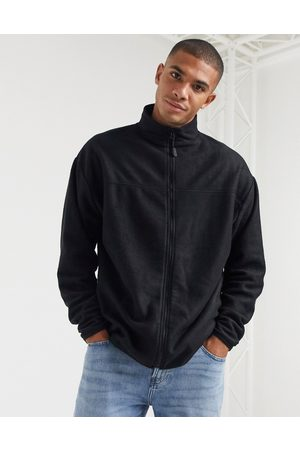 ASOS Oversized polar fleece track jacket in black