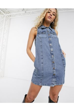 ASOS Soft denim sleeveless mini shirt dress in acid wash-Blue
