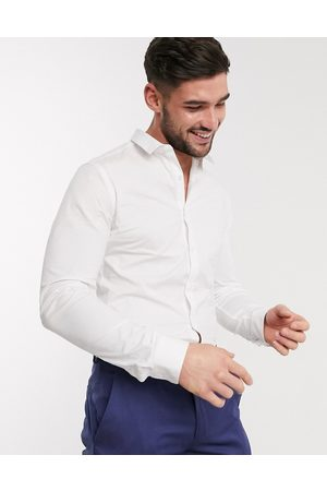 New Look Long sleeve muscle fit poplin shirt in white