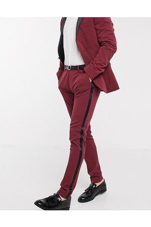 ASOS Super skinny tuxedo suit trousers in burgundy-Red