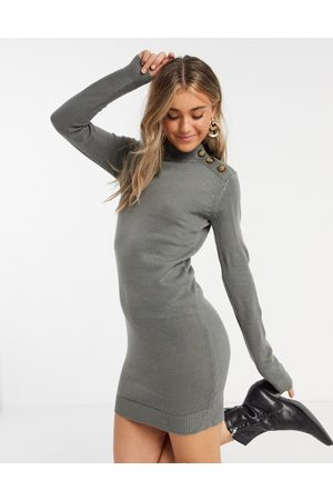 Brave Soul Rula knitted jumper dress with buttons-Grey
