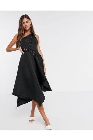 ASOS Ženy Asymetrické - One shoulder midi prom dress with asymmetric hem and lace up eyelet detail in black