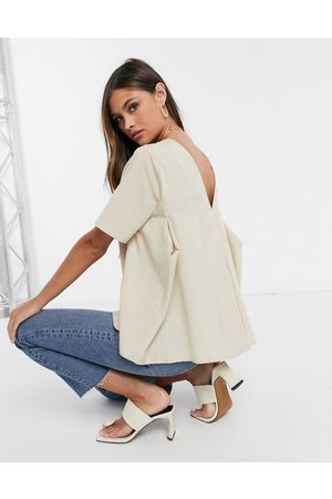 ASOS Short sleeve cotton top with pleat back detail in stone