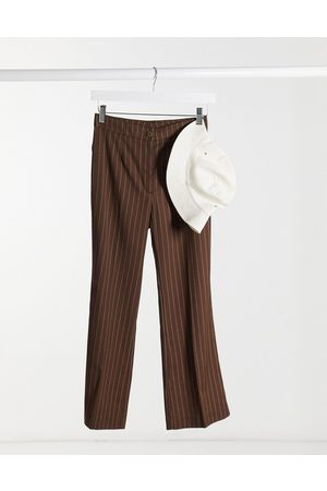 Monki Wendy flared tailored trousers in brown