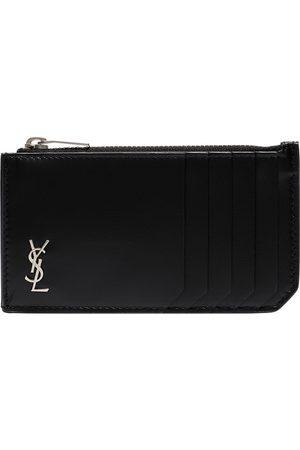 Saint Laurent Black monogram fragments zip leather card holder