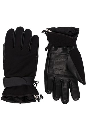 Moncler Black leather and jersey gloves