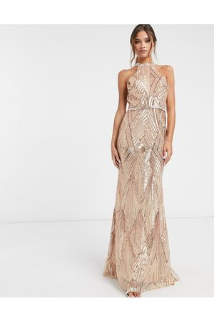 Forever Unique Sequin keyhole maxi dress in rose gold-Pink