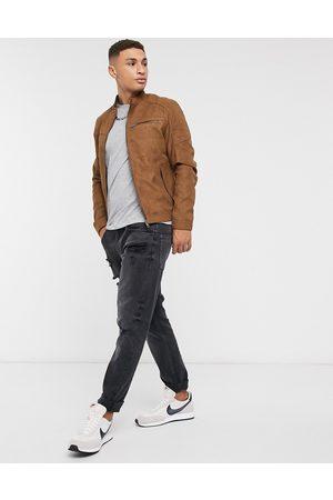 Jack & Jones Essentials biker jacket in faux suede tan