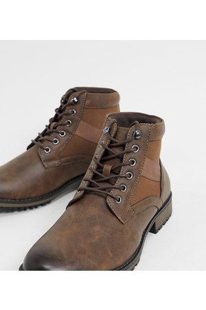 ASOS Wide Fit lace up boot in brown faux leather
