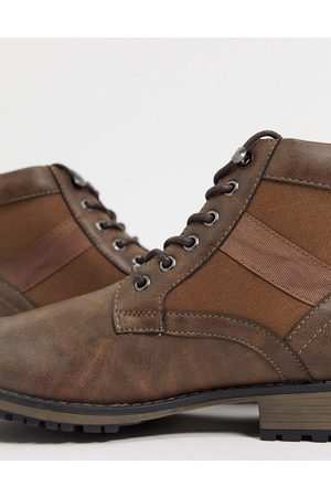 ASOS Lace up boot in brown faux leather