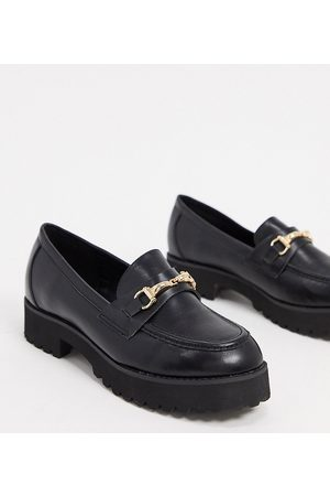 Raid Wide Fit Empire chunky loafers in black with gold snaffle