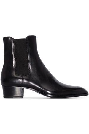 Saint Laurent Black Wyatt 40 leather boots