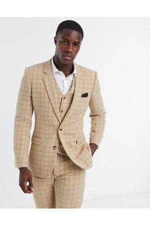 ASOS Wedding skinny wool mix suit jacket in camel houndstooth check-Beige