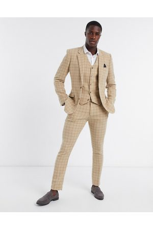 ASOS Wedding skinny wool mix suit waistcoat in camel houndstooth check-Beige