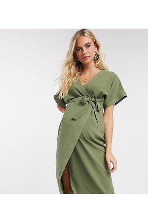 ASOS ASOS DESIGN Maternity wrap midi dress in khaki-Green
