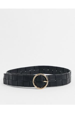 My Accessories Ženy Pásky - London waist and hip jeans woven belt with circle buckle in black