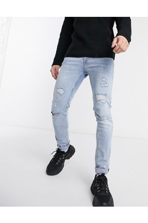 Jack & Jones Intelligence skinny fit super stretch abrasion jeans in light wash-Blue