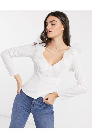ASOS Long sleeve cotton top with organza ruffle in white