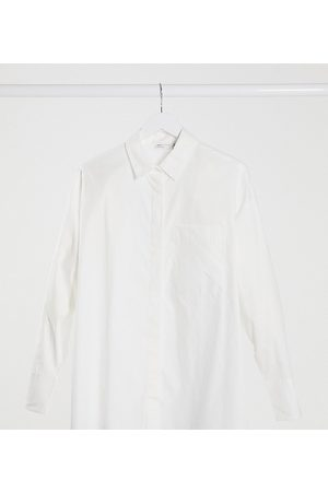 ASOS Maternity long sleeve boyfriend shirt in cotton in white