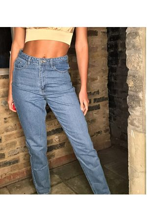 Missguided Riot high waisted mom jeans in blue
