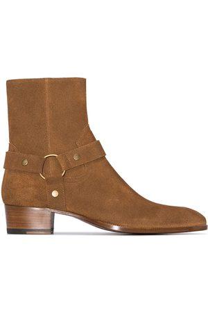 Saint Laurent Brown Wyatt suede boots