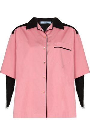 Prada Fringed cotton poplin shirt