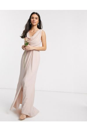 ASOS Bridesmaid cowl front maxi dress with button back detail in Blush-Pink
