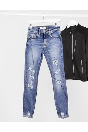 Bershka Super skinny jeans with rips in blue