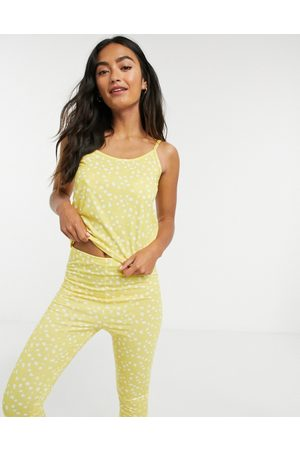 In The Style X Jac Jossa smudged polka dot cami and trouser nightwear set in yellow multi