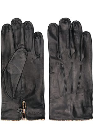 Paul Smith Striped trim leather gloves
