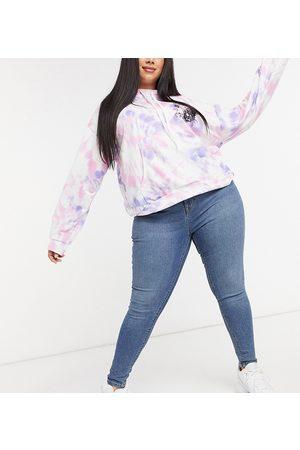 COLLUSION Ženy S vysokým pasem - Plus x001 high waisted skinny jean in mid blue
