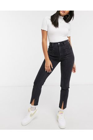 Stradivarius Ženy Strečové - Split front mom jeans with stretch in black