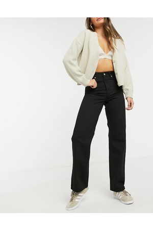 Dr Denim Echo high waist wide leg jeans in black