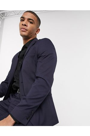 Selected Suit jacket with stretch in slim fit navy