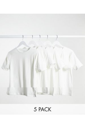 River Island Muscle fit t-shirt in white 5 pack